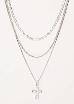 3-Pack Silver Gem Dangle Cross Chain Set