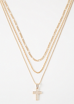 3-Pack Gold Gem Dangle Cross Chain Set