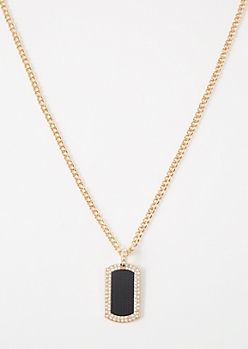 Gold Texture Bling Pendant Chain