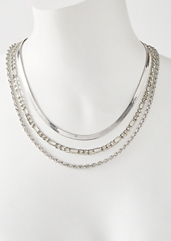 3-Pack Silver Mixed Chain Set