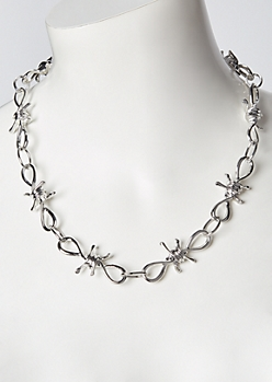 Silver Barbed Wire Necklace