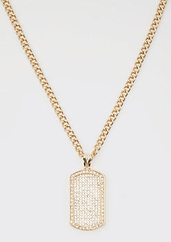 Gold Bling Dog Tag Chain Necklace