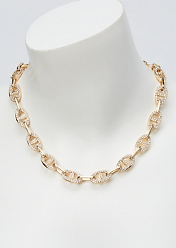 Gold Tab Link Bling Chain Necklace
