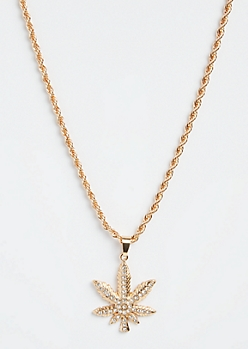 Gold Rhinestone Weed Leaf Pendant Necklace