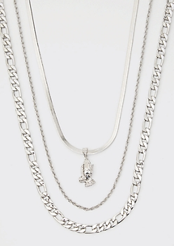 Silver Praying Hands Triple Layer Chain Necklace Set