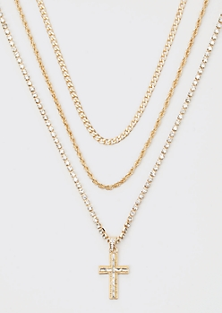 Gold Rhinestone Cross Triple Layer Chain Necklace Set