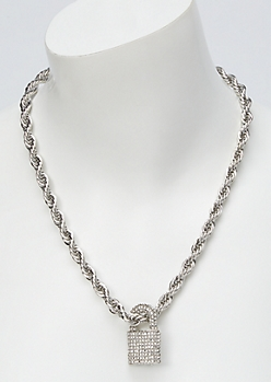Silver Bling Lock Pendant Chain Necklace