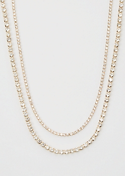 Gold Bling Double Layer Chain Necklace Set