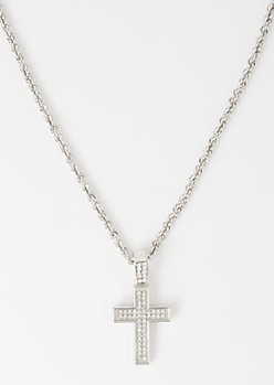 Silver Pave Chain Bling Cross Necklace