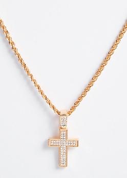 Gold Twist Gemstone Cross Necklace