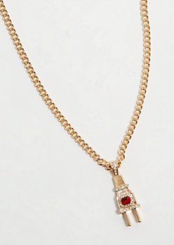 Gold Plug Pendant Chain Necklace
