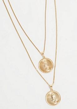 2-Pack Gold Praying Hands Necklace Set