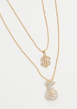 2-Pack Gold Twist Chain Money Necklace Set