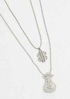 2-Pack Silver Twist Chain Money Necklace Set