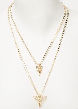 2-Pack Gold Angel Dangle Necklace Set