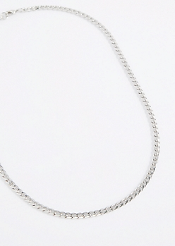 Thin Metallic Cuban Link Necklace