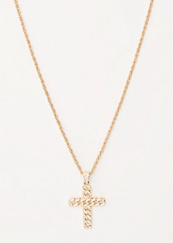 Gold Link Chain Cross Necklace