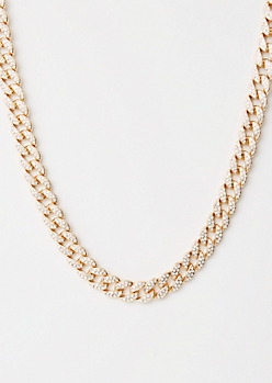 Gold Gemstone Chunky Chain Necklace