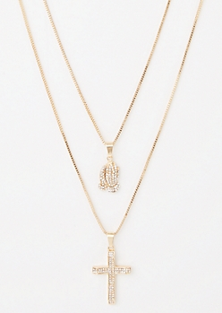 2-Pack Gold Cross Hands Necklace Set