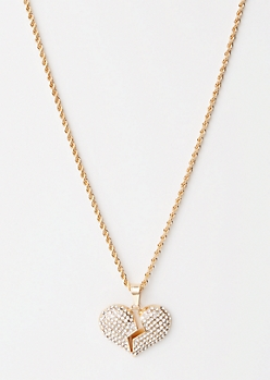 Gold Twist Chain Broken Heart Necklace