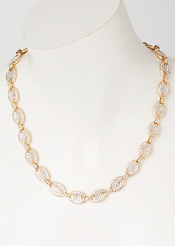 Gold Gemstone Pave Link Chain Necklace