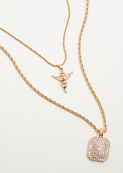 2-Pack Gold Angel Chain Necklace Set