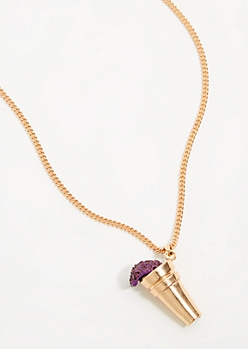 Gold Purple Punch Spill Chain Necklace