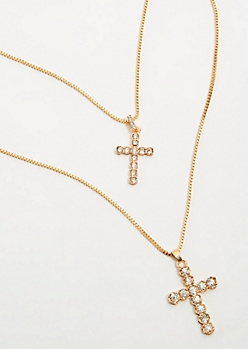 2-Pack Gold Cross Chain Necklace Set