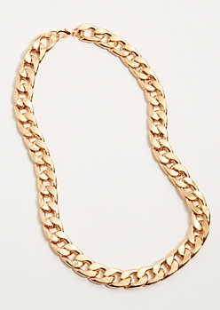 Gold Large Linked Chain Necklace Set