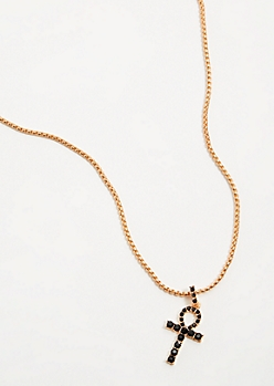 Gold Ankh Chain Necklace Set