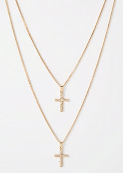 Gold Double Twist Cross Necklace