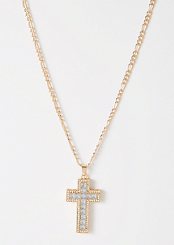 Gold Gemstone Cross Chain