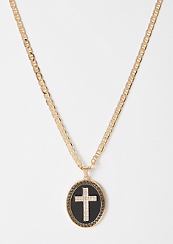 Gold Cross Inset Chain