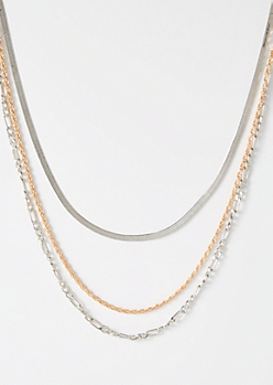 Triple Layer Mixed Metal Chain