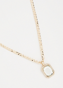 Gold Link Chain Clear Gemstone Necklace