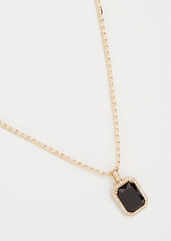 Gold Link Chain Black Gemstone Necklace