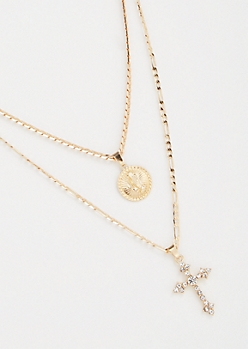 2-Pack Gold Cross Pray Necklace Set