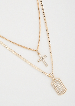 2-Pack Gold Cross Dog Tag Necklace Set
