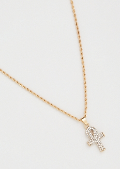 Gold Skinny Twist Chain Bling Ankh Necklace
