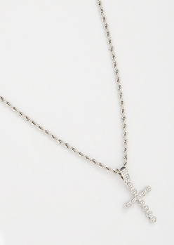 Silver Twist Chain Bling Cross Necklace