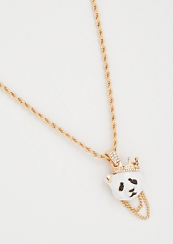 Gold Twist Chain Crown Panda Necklace