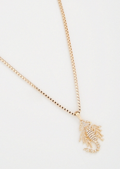Gold Link Chain Bling Scorpion Necklace