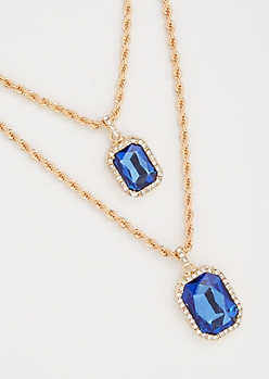 2-Pack Gold Twist Chain Gemstone Necklace Set
