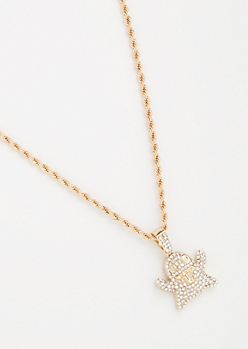 Gold Twist Chain Bling Ghost Necklace