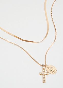 Gold Cross Pendant Necklace Set