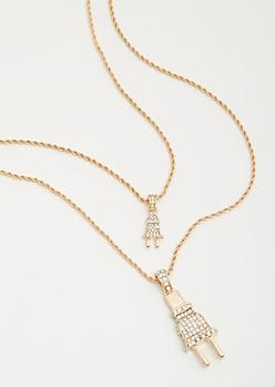 2-Pack Twist Chain Plug Necklace Set