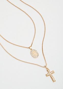 2-Pack Gold Chain Pendant Necklace Set