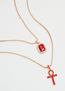 2-Pack Gold Chain Ruby Ankh Necklace Set
