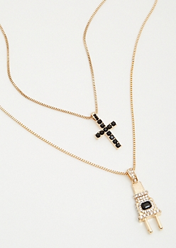 2-Pack Gold Chain Plug Necklace Set