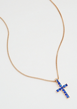 Blue Gemstone Cross Gold Chain Necklace